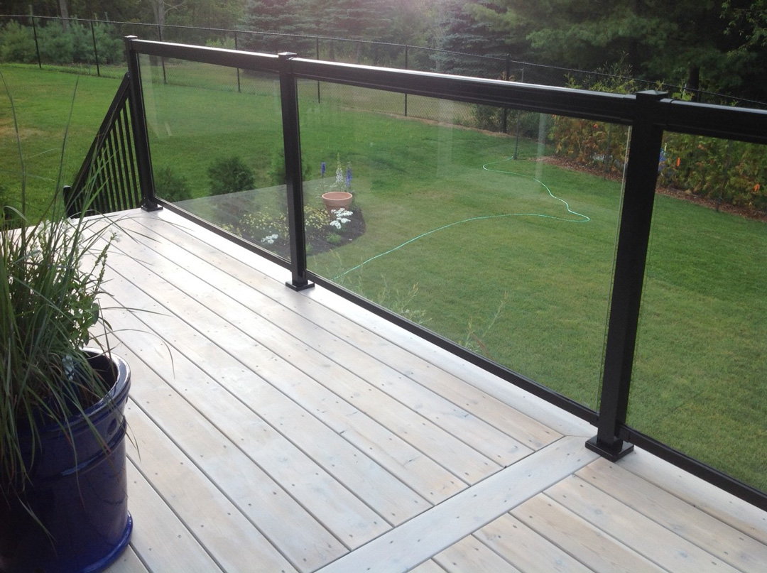Tempered glass panels for deck railing tempered glass for Garden decking glass panels